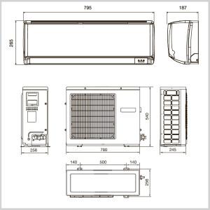 Кликните для просмотра схемы и размеров данной сплит-системы