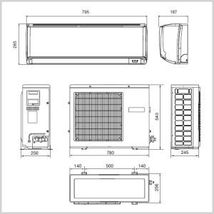 Кликните для просмотра размеров и схемы данной сплит-системы